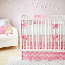 cute unique baby crib with pink white themed together with chevron