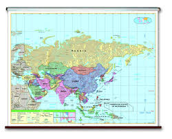 Africa And Asia Political Map by Spring Roller Wall Maps For Your Classroom