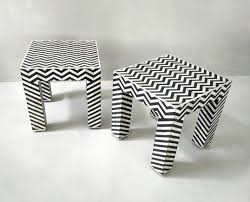 black and white side table op art pattern geometric black white side tables 1980s 64966