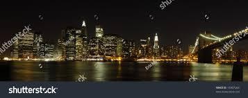 panoramic view lower manhattan skyline night stock photo 15907264