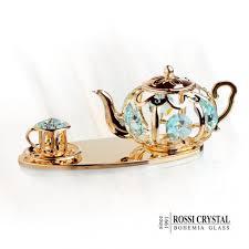 teapot set teapot set gold bohemia glass