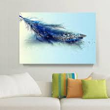 Feather Wallpaper Home Decor 2017 1 Panels Hd Blue Feather U0026 Diamond Painting Home Decor Wall
