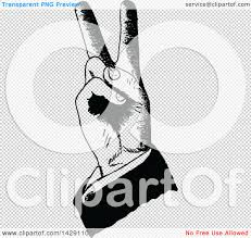 clipart of a vintage black and white sketched hand making bunny