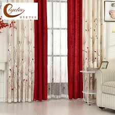 Luxury Linen Curtains Byetee Beige Red Stitching Faux Cotton Linen Curtain Window
