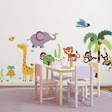 Bedroom Jungle Wall Stickers Giant Nursery Kids Room Wall Sticker Decals Tumble In The Jungle