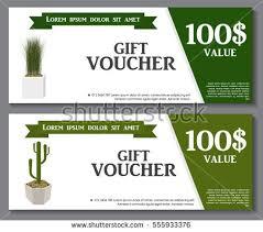 green gift voucher vector illustration gift voucher template green plant flowerpot stock vector 555933376