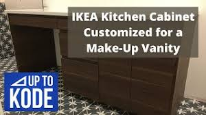 ikea kitchen cabinets in the bathroom ikea kitchen cabinet customized for a make up vanity in a bathroom