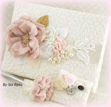 vintage wedding guest book lace guest book blush white gold ivory vintage wedding