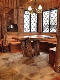 cedar log breakfast nook after rustic dining room atlanta