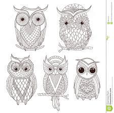 set of cute owls stock image image 25217401