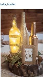 gold centerpieces diy wedding micro led lights wine bottle