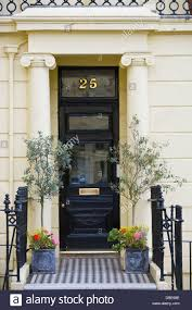 Front Door Planters by Number 25 Black Front Door With Planters And Railings In Brunswick