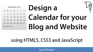 design a calendar for your blog and website using html5 css3 and