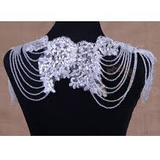 crystal lace necklace patterns images Luxury full crystal bridal choker necklace wowen shoulder chain jpg