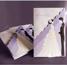 marriage invitation card design new fashion hollow personalized design purple theme wedding