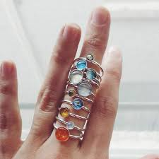 rings set images Sterling silver solar system stacking rings set of 10 planets jpg