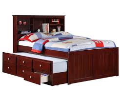 Solid Wood Bunk Beds With Trundle by Solid Wood Espresso Bookcase Full Size Captains Bed With Trundle