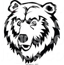 royalty free vector of a black and white bear face logo by vector