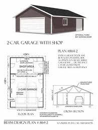 Garage Blueprints Two Car Garage With Rear Bay Shop Plan 864 2 24 U0027 X 36 U0027 By Behm
