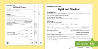 light and shadows lesson plans recognise that they need light in order to see things