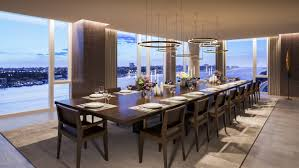 starchitect designed waterline square unveils more of its plush the dining room at one waterline square