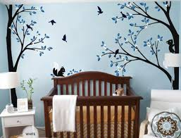 Corner Wall Art by Full Corner Tree Squirrel Bird Flower Wall Decals Nursery Kids