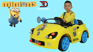 toddler ride on car unboxing dynacraft minions 6v rocket car electric battery powered
