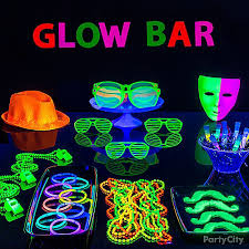 glow party glow bar party table idea black light party ideas summer party