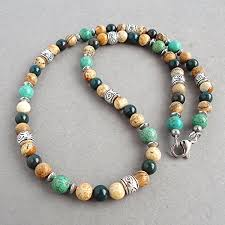 beaded stone necklace images Mens natural stone beaded necklace 19 inches green jpg