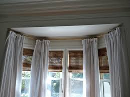 decorating contemporary bay window curtain rods with elegant red
