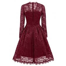 party dress wine m lace sleeve vintage a line party dress rosegal