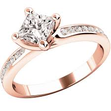 gold engagement rings uk princess cut diamond ring with shoulder stones in 18ct gold