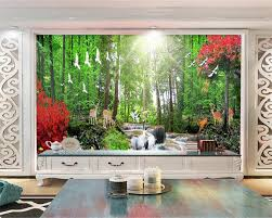 tv walls beibehang home decorative wallpaper hd red trees trees deer