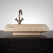 curved rectangular polished granite platform vessel sink bathroom