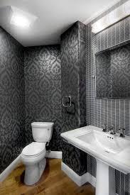 Mirrored Subway Tile Backsplash Bathroom Transitional With by Beautiful Modern Kitchens Powder Room Transitional With Gray