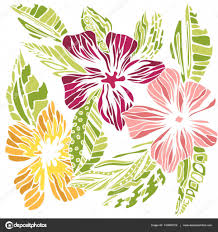 stylized flowers sketch colored drawing u2014 stock vector