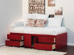 furniture red twin bed with storage under 4 drawers 1 cabinet