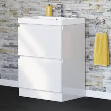 600mm denver ii gloss white built in floor standing basin drawer