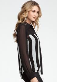 bebe blouses lyst bebe stripe block sleeve button up blouse in black