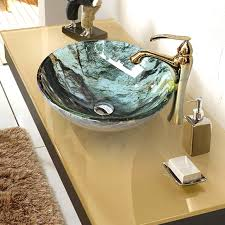 Overmount Bathroom Sink Drop In Overmount Round Stained Glass Bowl Sinks