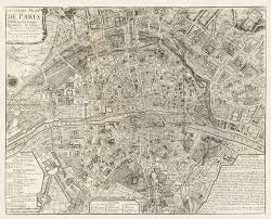 Map Paris France by Vintage Map Paris France 1705