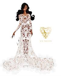 serena williams wedding gown sketches by val stefani viva glam