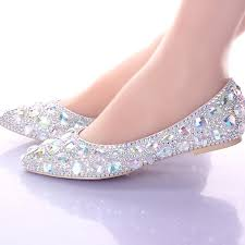 silver flat wedding shoes flat heels pointed toe ab wedding shoes silver