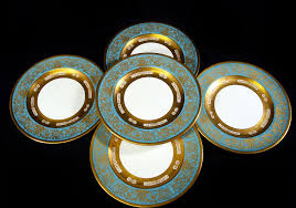 crown staffordshire turquoise and gilt dinner plates set 12 from