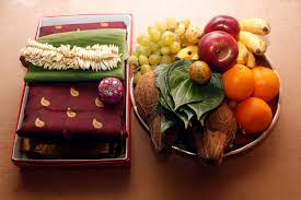 south indian culture showing fruits withe betel leaf called