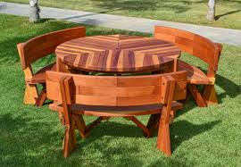 Retro Outdoor Furniture by Fullback Arc Wood Picnic Bench Custom Redwood Seating