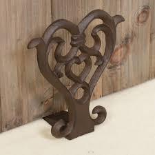 door wedge love heart mouled wrought iron dark drown