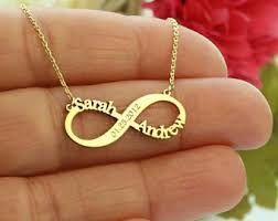 Gold Custom Name Necklace Personalized Infinity Necklace Etsy