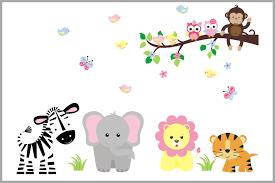 Monkey Nursery Decals Girly Pastel Jungle Animals Nursery Decal With Branch Girls