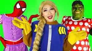 superheroes swap costume challenge w princess rapunzel hulk